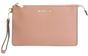 Michael Kors Leather Gold Hardware Wristlet in Dusty Rose