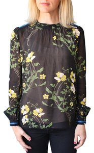 Warm Floral Long Sleeve Top Black