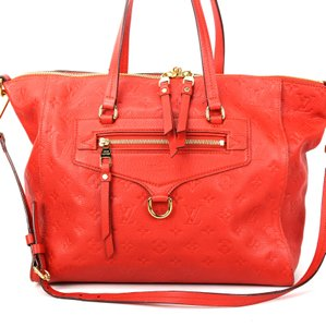 Louis Vuitton Lumineuse Limited Edition Embossed Leather Tote in Red