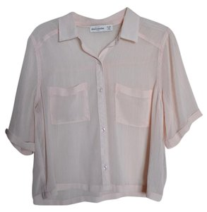 Abercrombie & Fitch Sheer Button Up Tee Top Pink