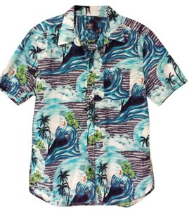 Old Navy Hawaiian Surfer Button Down Shirt Blue
