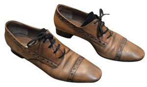 Thierry Rabotin Leather Oxfords Heels Brown Flats