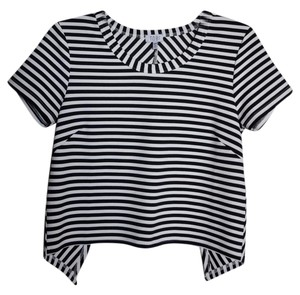 Tobi Striped Origami Open Top Black and White