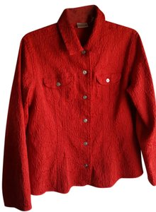Chico's Blazer Textured Looks New Button Down Shirt Red