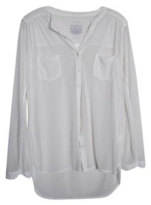 Primark White Button Up Soft Top Cream