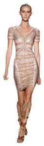 Hervé Leger short dress Pink / Light Pink /Silver Bandage Sexy Wedding on Tradesy