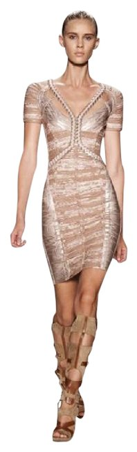 Item - Pink / Light Pink /Silver Romina Foil-print Bandage with Braided Chiffon Mid-length Short Casual Dress Size 8 (M)