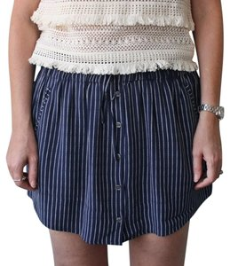 Joie Drawstring Silk Mini Skirt Blue