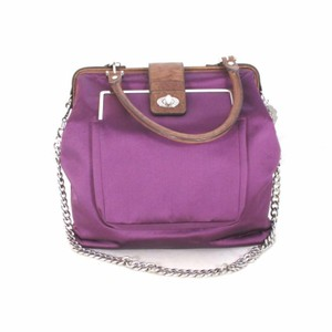 Lanvin Designer Leather Satin Satchel in Purple