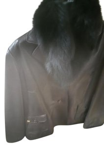 St. John Fox Fur Trim Leather Fur Coat