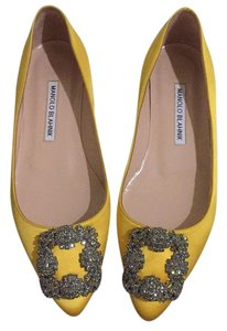 Manolo Blahnik Yellow Satin Flats