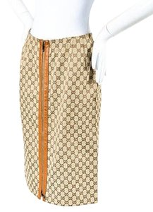 Gucci Tan Blend Leather Trim Monogram Metal Zip Pencil Skirt Beige