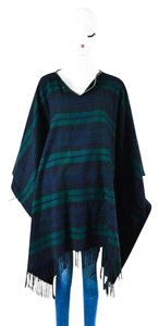 Hermès Navy Green Black Cashmere Wool Plaid Printed Fringe Hemline Os Cape