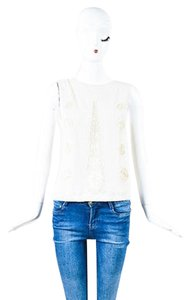 Valentino Sequin Bead Mesh Embroidered Sleeveless Top Beige