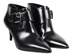 Burberry Leather Buckle Strap Pointed Toe Ankle Black Boots