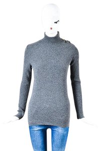 Chanel Boutique Ribbed Cashmere Cc Turtleneck Ls Sweater