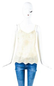 Chanel 05a Metallic Beige Lace Cc Button Back Top Gold