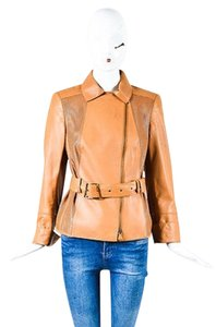 Akris Leather Laser Cut Belted Tan Jacket