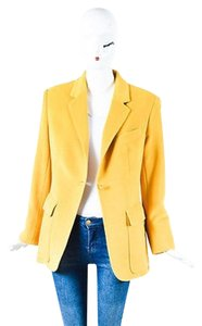 Herms Hermes Yellow Angora Wool Ls Single Button Blazer Jacket