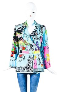 Versace Turquoise Blue Silk Baroque Floral Print Belted Multi-Color Jacket