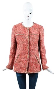 Chanel 01a White Tweed Red Jacket