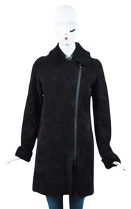 Soia & Kyo Sheepskin Shearling Asymmetric Zip Vara Long Coat