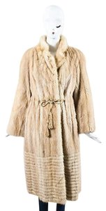 Other Vintage Cream Tan Fur Drawstring Tassel Long Sleeve Coat