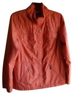 Chico's Snap Closure Zip Light Weight Lined Reddish Orange Jacket