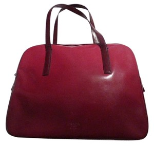 Prada Mint Vintage Roomy Great Color Pop Bowler Style Satchel in gradation of red to burgundy glossy leather