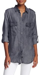 Rails Chambray Denim Button Down Shirt Gray