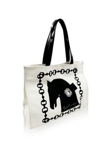 My Flat in London Tote in Black and Cream