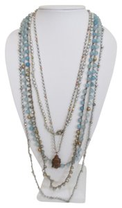I JEWELS I JEWELS WOMEN'S 5 BLUE MULTI CRYSTAL BEADED LAYER NECKLACE DF