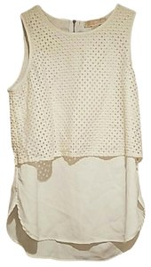 Michael Kors Sleeveless Mesh Layered Top White