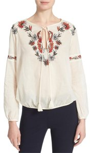 Tory Burch Longsleeve Split-neck Embroidered Top