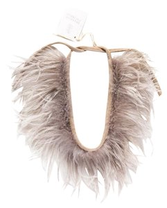 Brunello Cucinelli Grey Feathered Necklace