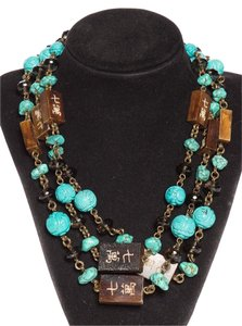 Stephen Dweck Carved Asian Turquoise Motif Necklace