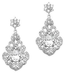 Mariell Cz Oval Vintage Look Wedding Earrings