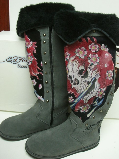 Item - Gray Ed Hardy Ghost Boots/Booties Size US 8 Regular (M, B)