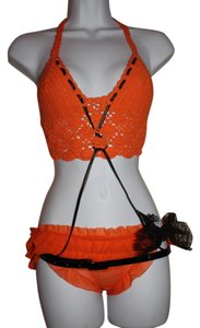 Lingerie Burlesque Panties Top Orange & Black, Crocheted, Leather & Lace