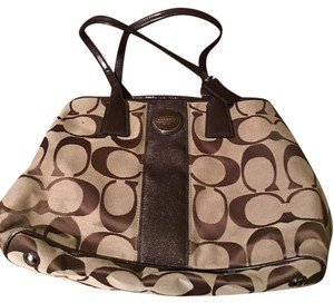 Coach Satchel in Light Brown With Chocolate Brown Accents