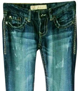 BKE Big Star Hudson Miss Me Distressed Boot Cut Jeans-Acid