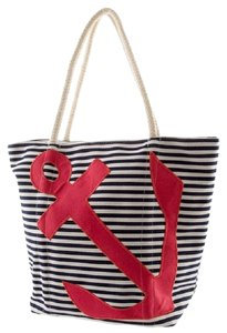 Tote in Blue and White, Red