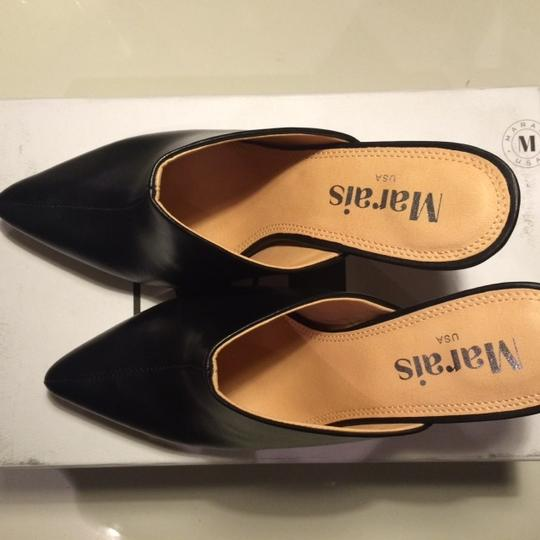 Marais Leather Pointy High Heel Leather Black Mules