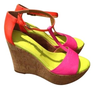 Nanette Lepore Leather Brand New Neon Green and Hot Pink Wedges