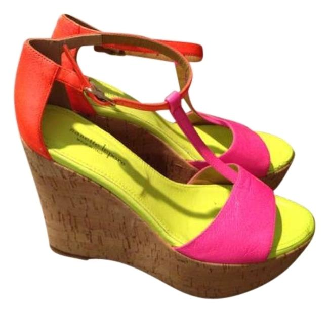Item - Neon Green and Hot Pink Leather Wedges Size US 7