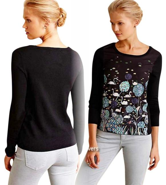 Anthropologie Unique Pond / Swan Pullover Styling Images Of Nature Whimsical Top Black Image 1