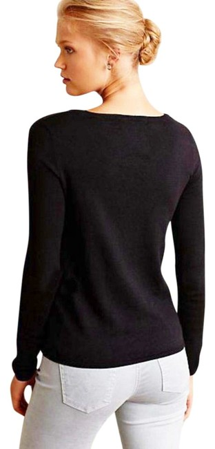 Anthropologie Unique Pond / Swan Pullover Styling Images Of Nature Whimsical Top Black Image 4