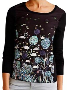 Anthropologie Unique Pond / Swan Pullover Styling Images Of Nature Whimsical Top Black