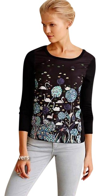 Anthropologie Unique Pond / Swan Pullover Styling Images Of Nature Whimsical Top Black Image 2