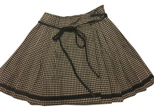 DKNY Wool Pleated A-line Mini Mini Skirt black and cream Plaid with leather strap